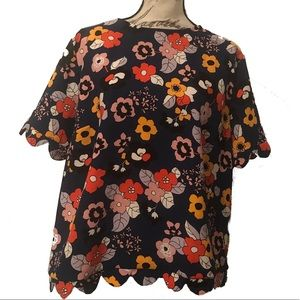 Victoria Beckham for Target Floral Scalloped Top